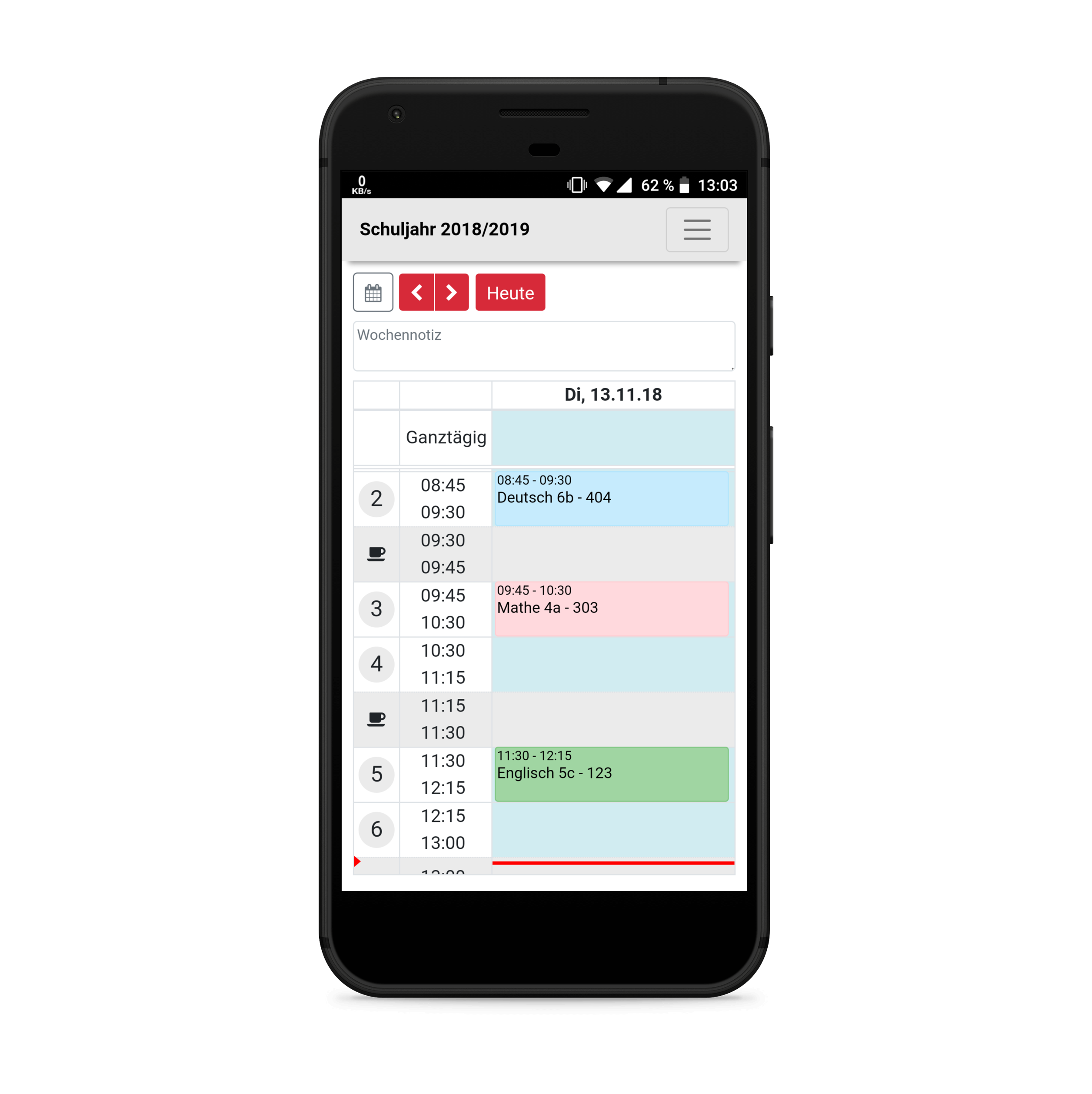 Maiß App Beispiel: Lehrerkalender